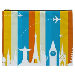 Eiffel Tower Monument Statue Of Liberty Cosmetic Bag (xxxl)  by Mariart