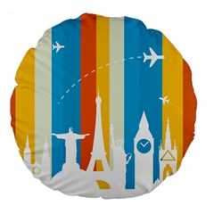 Eiffel Tower Monument Statue Of Liberty Large 18  Premium Flano Round Cushions by Mariart