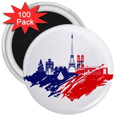 Eiffel Tower Monument Statue Of Liberty France England Red Blue 3  Magnets (100 Pack) by Mariart