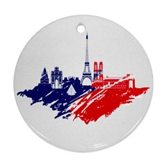 Eiffel Tower Monument Statue Of Liberty France England Red Blue Round Ornament (two Sides) by Mariart