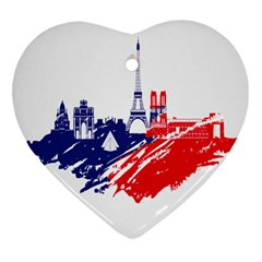 Eiffel Tower Monument Statue Of Liberty France England Red Blue Heart Ornament (two Sides) by Mariart