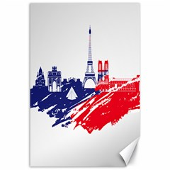 Eiffel Tower Monument Statue Of Liberty France England Red Blue Canvas 24  X 36  by Mariart