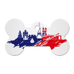 Eiffel Tower Monument Statue Of Liberty France England Red Blue Dog Tag Bone (one Side) by Mariart