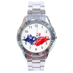Eiffel Tower Monument Statue Of Liberty France England Red Blue Stainless Steel Analogue Watch by Mariart