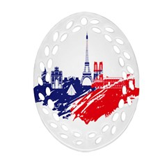 Eiffel Tower Monument Statue Of Liberty France England Red Blue Ornament (oval Filigree) by Mariart