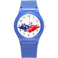 Eiffel Tower Monument Statue Of Liberty France England Red Blue Round Plastic Sport Watch (s) by Mariart