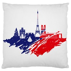 Eiffel Tower Monument Statue Of Liberty France England Red Blue Large Cushion Case (two Sides) by Mariart