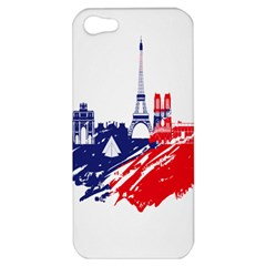 Eiffel Tower Monument Statue Of Liberty France England Red Blue Apple Iphone 5 Hardshell Case by Mariart