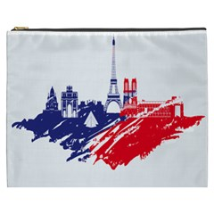 Eiffel Tower Monument Statue Of Liberty France England Red Blue Cosmetic Bag (xxxl)  by Mariart