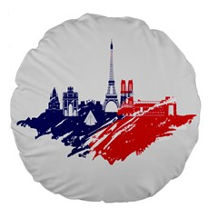 Eiffel Tower Monument Statue Of Liberty France England Red Blue Large 18  Premium Flano Round Cushions by Mariart