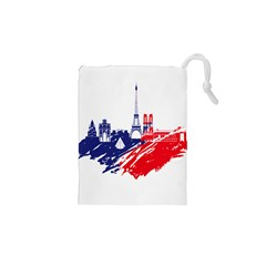 Eiffel Tower Monument Statue Of Liberty France England Red Blue Drawstring Pouches (xs)  by Mariart