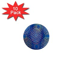 Fireworks Party Blue Fire Happy 1  Mini Magnet (10 Pack)  by Mariart