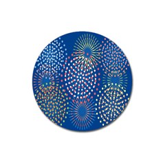 Fireworks Party Blue Fire Happy Magnet 3  (round) by Mariart