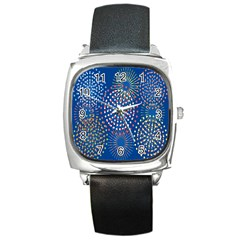 Fireworks Party Blue Fire Happy Square Metal Watch by Mariart