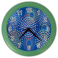 Fireworks Party Blue Fire Happy Color Wall Clocks by Mariart