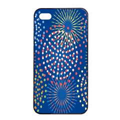Fireworks Party Blue Fire Happy Apple Iphone 4/4s Seamless Case (black) by Mariart