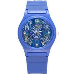 Fireworks Party Blue Fire Happy Round Plastic Sport Watch (s) by Mariart