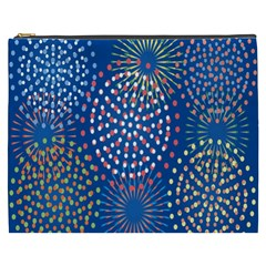 Fireworks Party Blue Fire Happy Cosmetic Bag (xxxl)  by Mariart