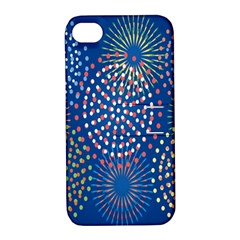 Fireworks Party Blue Fire Happy Apple Iphone 4/4s Hardshell Case With Stand by Mariart