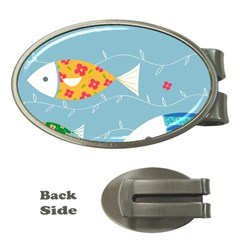 Fish Cute Swim Blue Sea Money Clips (oval)  by Mariart