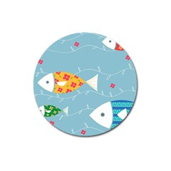 Fish Cute Swim Blue Sea Magnet 3  (round) by Mariart