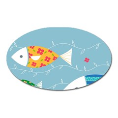 Fish Cute Swim Blue Sea Oval Magnet by Mariart