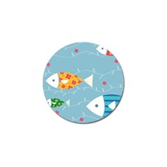 Fish Cute Swim Blue Sea Golf Ball Marker (4 Pack) by Mariart