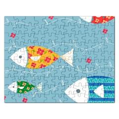 Fish Cute Swim Blue Sea Rectangular Jigsaw Puzzl by Mariart