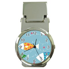 Fish Cute Swim Blue Sea Money Clip Watches by Mariart