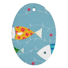Fish Cute Swim Blue Sea Oval Ornament (two Sides) by Mariart