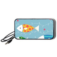 Fish Cute Swim Blue Sea Portable Speaker (black) by Mariart