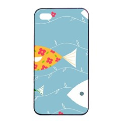 Fish Cute Swim Blue Sea Apple Iphone 4/4s Seamless Case (black) by Mariart
