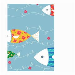 Fish Cute Swim Blue Sea Small Garden Flag (two Sides) by Mariart