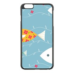Fish Cute Swim Blue Sea Apple Iphone 6 Plus/6s Plus Black Enamel Case