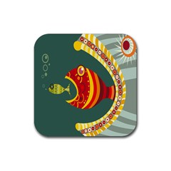 Fish Predator Sea Water Beach Monster Rubber Coaster (square)  by Mariart