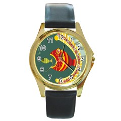 Fish Predator Sea Water Beach Monster Round Gold Metal Watch by Mariart