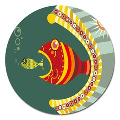 Fish Predator Sea Water Beach Monster Magnet 5  (round) by Mariart