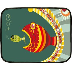 Fish Predator Sea Water Beach Monster Fleece Blanket (mini) by Mariart