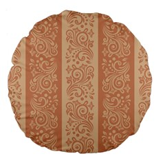 Flower Floral Leaf Frame Star Brown Large 18  Premium Flano Round Cushions by Mariart