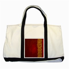 Floral Flower Golden Red Leaf Two Tone Tote Bag by Mariart