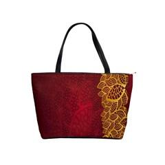 Floral Flower Golden Red Leaf Shoulder Handbags by Mariart