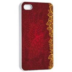 Floral Flower Golden Red Leaf Apple Iphone 4/4s Seamless Case (white) by Mariart