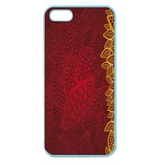 Floral Flower Golden Red Leaf Apple Seamless Iphone 5 Case (color) by Mariart