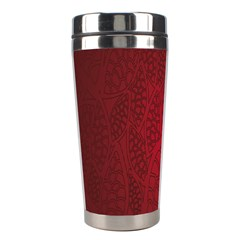 Floral Flower Golden Red Leaf Stainless Steel Travel Tumblers by Mariart