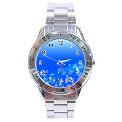 Fish Swim Blue Water Swea Beach Star Wave Chevron Stainless Steel Analogue Watch by Mariart