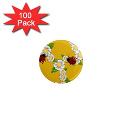 Flower Floral Sunflower Butterfly Red Yellow White Green Leaf 1  Mini Magnets (100 Pack)  by Mariart