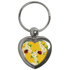 Flower Floral Sunflower Butterfly Red Yellow White Green Leaf Key Chains (heart)  by Mariart