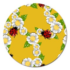 Flower Floral Sunflower Butterfly Red Yellow White Green Leaf Magnet 5  (round) by Mariart