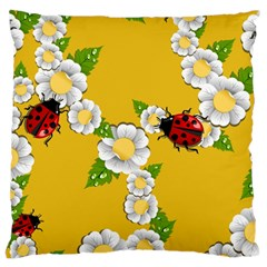 Flower Floral Sunflower Butterfly Red Yellow White Green Leaf Large Cushion Case (two Sides) by Mariart
