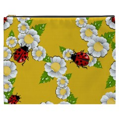 Flower Floral Sunflower Butterfly Red Yellow White Green Leaf Cosmetic Bag (xxxl)  by Mariart